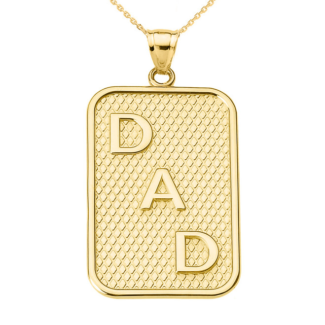 "Yellow Gold ""DAD"" Pendant Necklace"