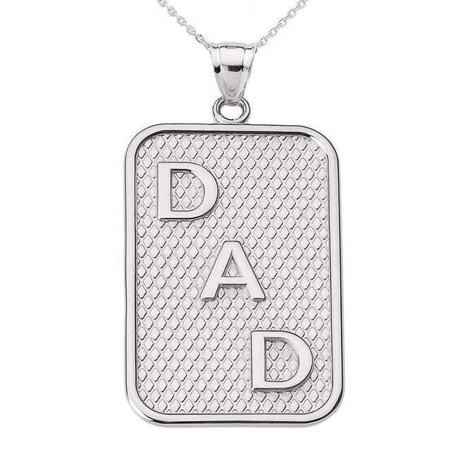 "White Gold ""DAD"" Pendant Necklace"