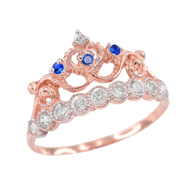 Blue CZ Rose Gold Crown Ring
