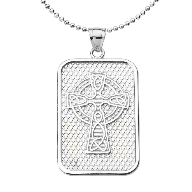 Sterling Silver Trinity Knot Celtic Cross Pendant Necklace