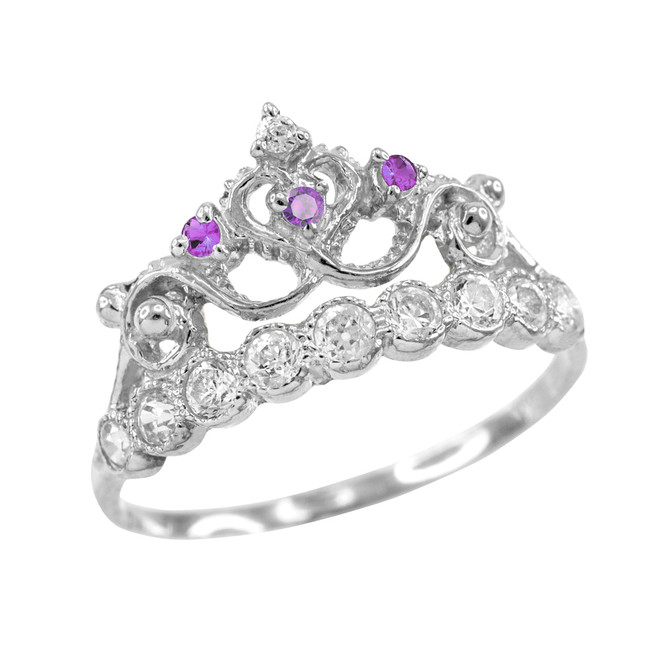 Purple CZ White Gold Crown Ring