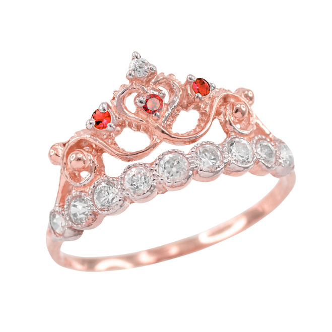 Red CZ Rose Gold Crown Ring