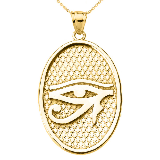 Yellow Gold Eye of Horus Oval Pendant Necklace
