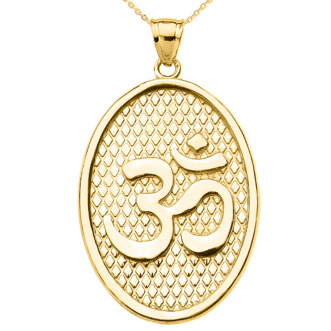 Yellow Gold Om/Ohm Oval Pendant Necklace
