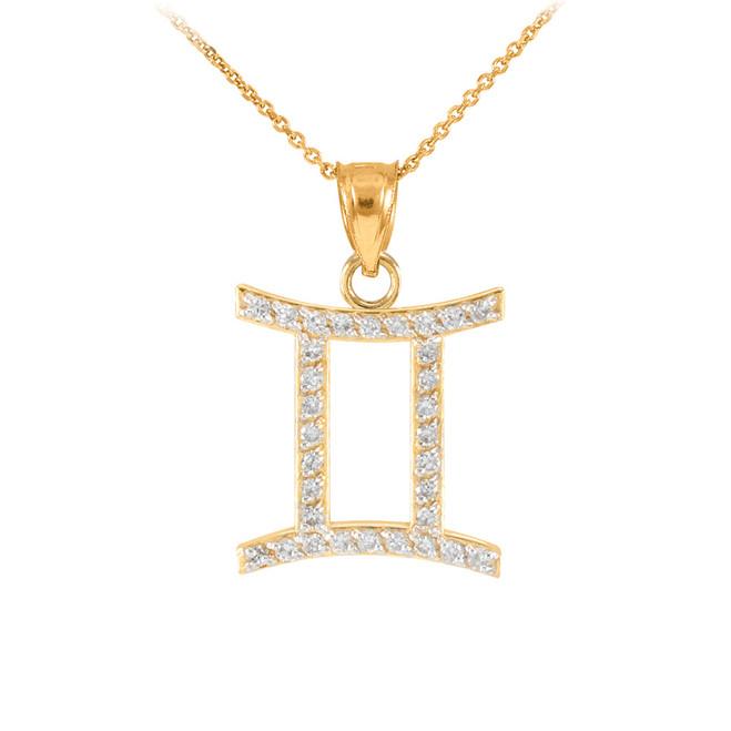 14K Gold Gemini Zodiac Sign Diamond Pendant Necklace