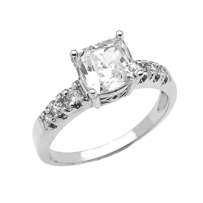 Elegant White Gold Princess Cut CZ Solitaire Engagement Ring