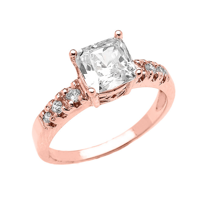 Elegant Rose Gold Princess Cut CZ Solitaire Engagement Ring