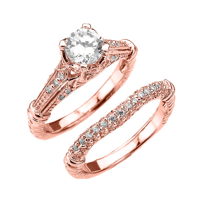 Rose Gold Art Deco Engagement Wedding Ring Set