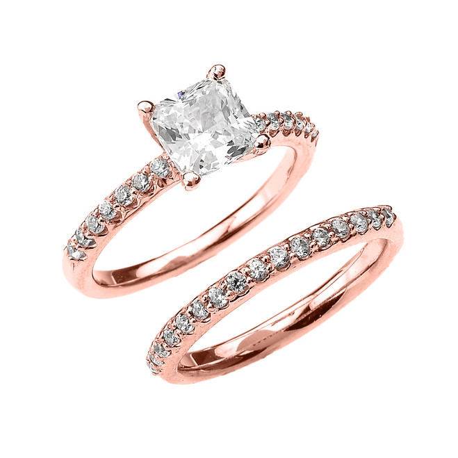 Rose Gold Princess CZ Classic Engagement Wedding Ring Set