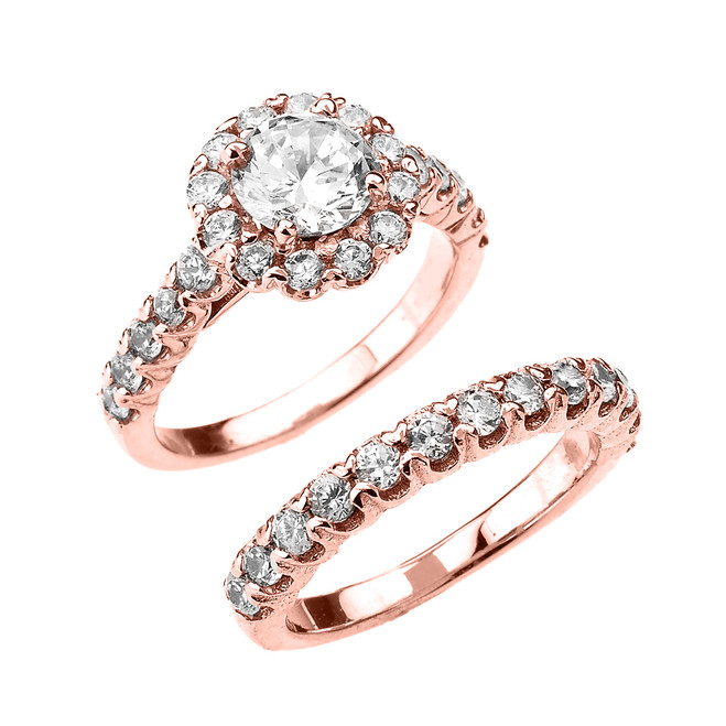 CZ Halo Engagement Ring Set in Rose Gold