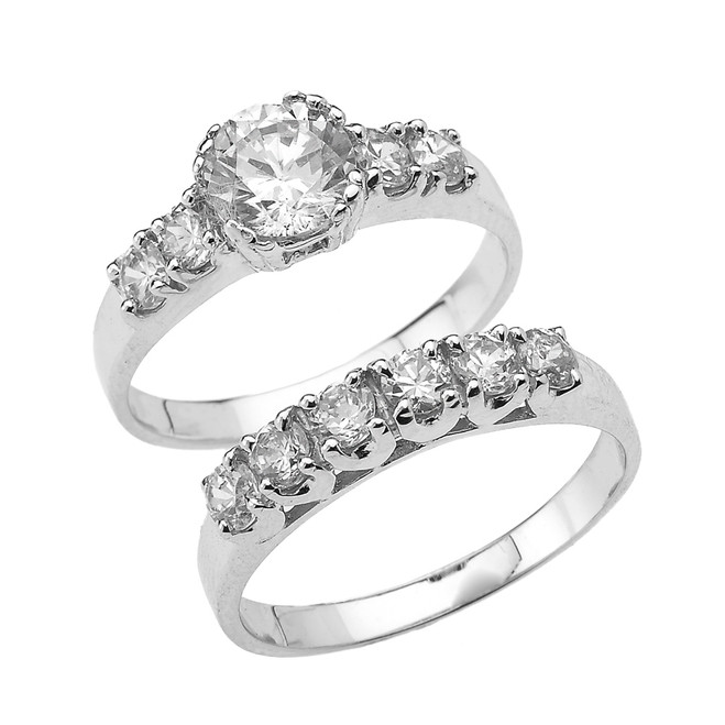 White Gold Round Cubic Zirconia Engagement Wedding Ring Set