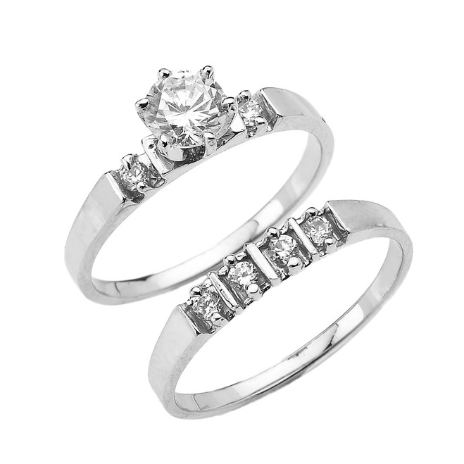 White Gold Round CZ Solitaire Engagement Wedding Ring Set