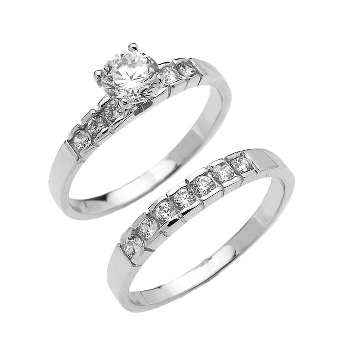 White Gold Channel Set Round CZ Engagement Wedding Ring Set