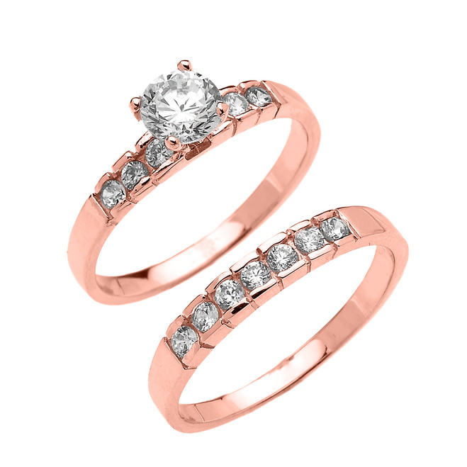 Rose Gold Channel Set Round CZ Engagement Wedding Ring Set