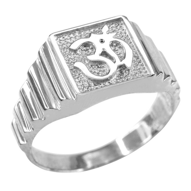 White Gold Om Men's Ring