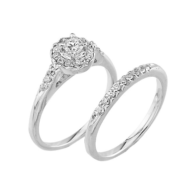 White Gold Diamond Halo Wedding Engagement Ring Set
