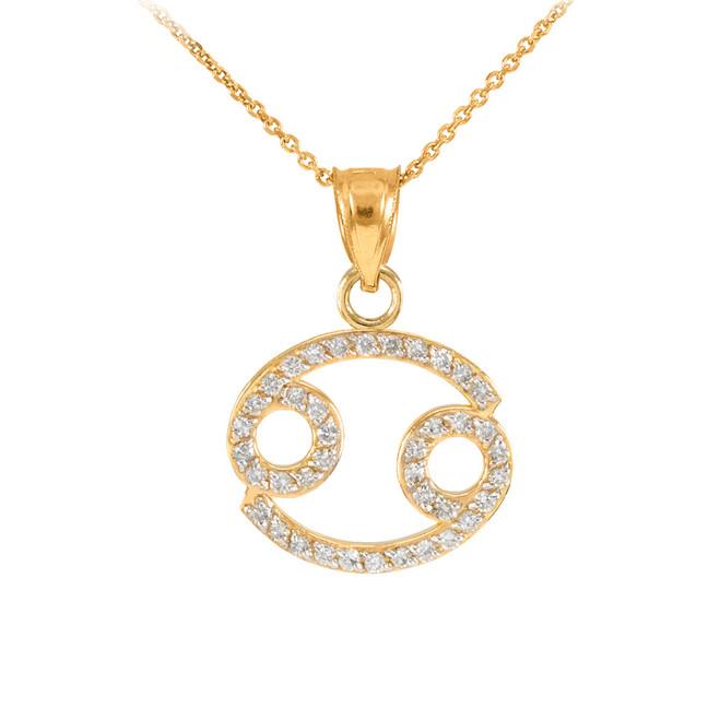 14K Gold Cancer Zodiac Sign Diamond Pendant Necklace