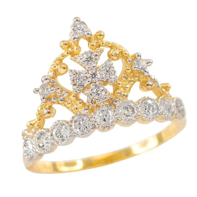 Gold Crown Cross CZ Ring
