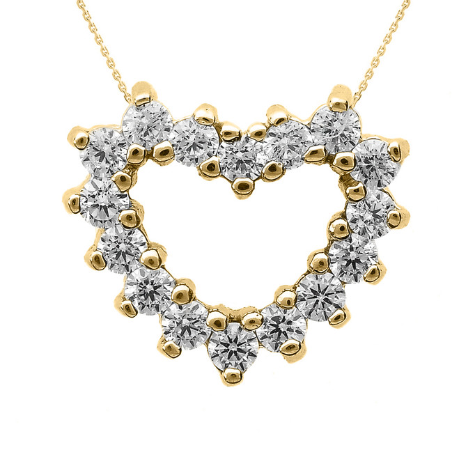 Yellow Gold Diamond Open Heart Necklace