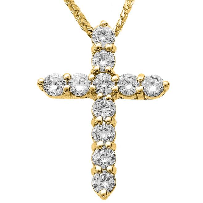 14k Yellow Gold Round Diamond Cross Necklace