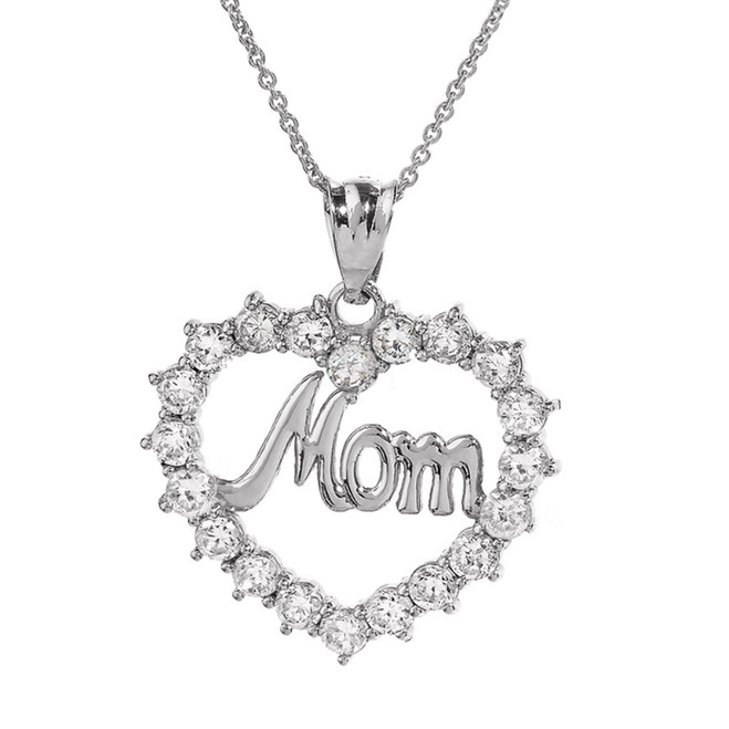 "Sterling Silver ""MOM"" Open Heart Pendant Necklace"