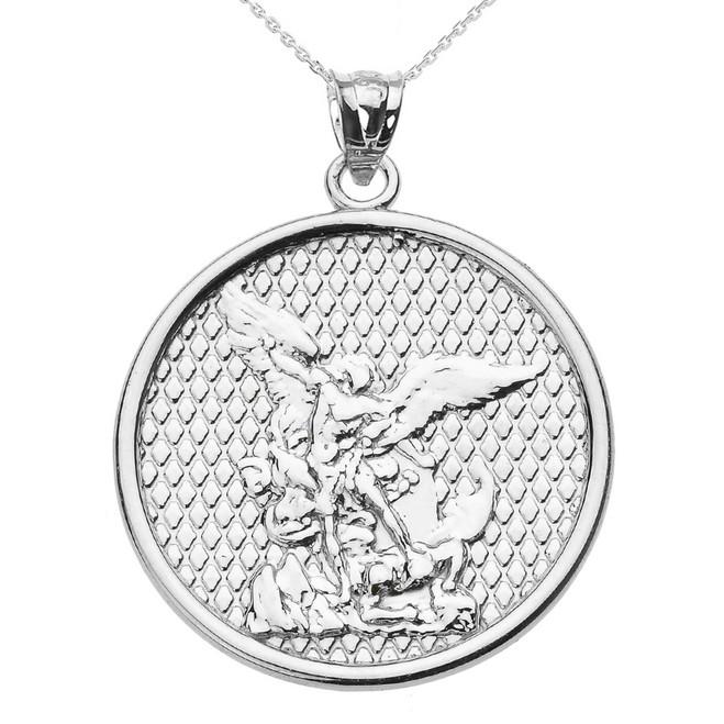 Rose gold saint michael pendant necklace white gold saint michael pendant necklace aloadofball Gallery