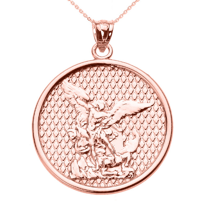 Polished rose gold st michael pendant necklace rose gold saint michael pendant necklace mozeypictures Gallery