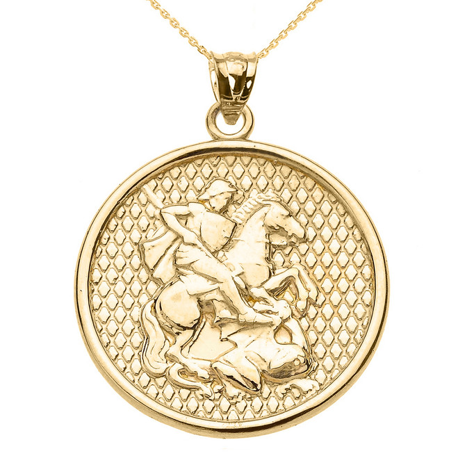 Yellow Gold Saint George Pendant Necklace