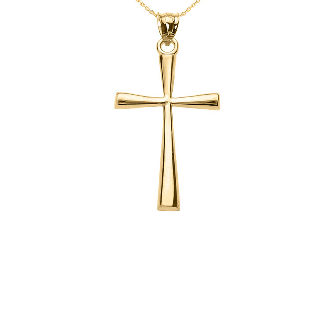Solid Yellow Gold Cross Pendant Necklace (Small)