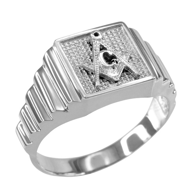 Sterling Silver Masonic Square Mens Ring