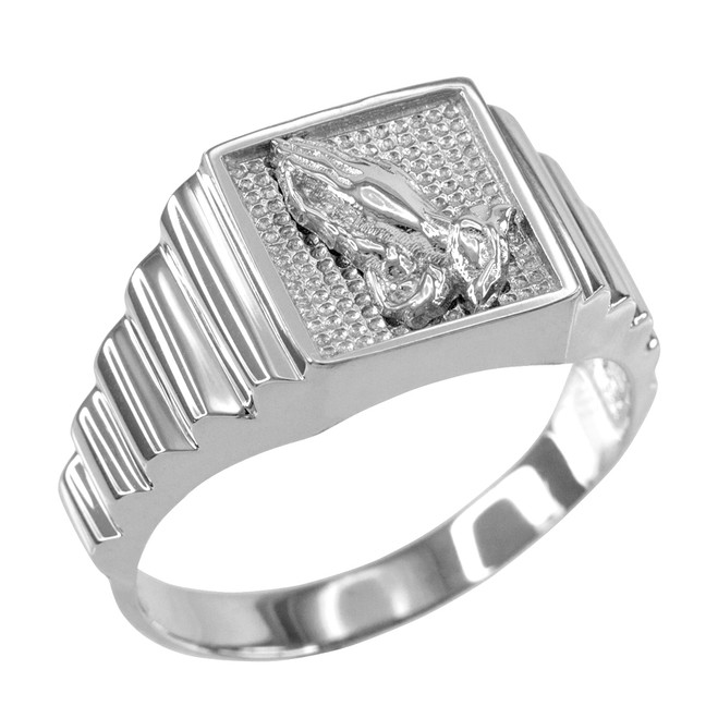 Sterling Silver Praying Hands Square Mens Ring