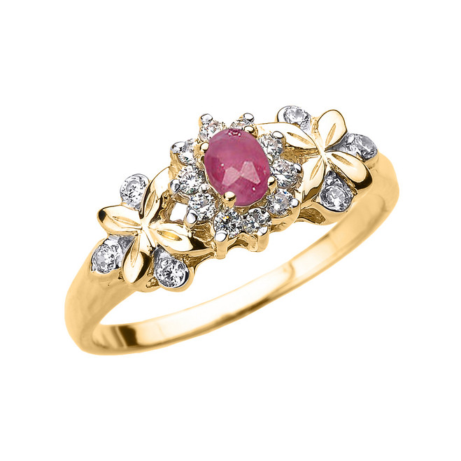 Yellow Gold Oval Ruby and Diamond Engagement Ring