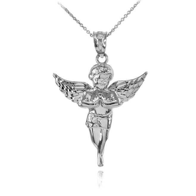 925 Sterling Silver Diamond Cut Angel Pendant Necklace