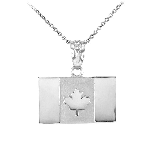 Solid White Gold Canada Flag Pendant Necklace