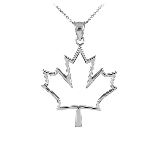 Silver Open Design Maple Leaf Charm Pendant Necklace