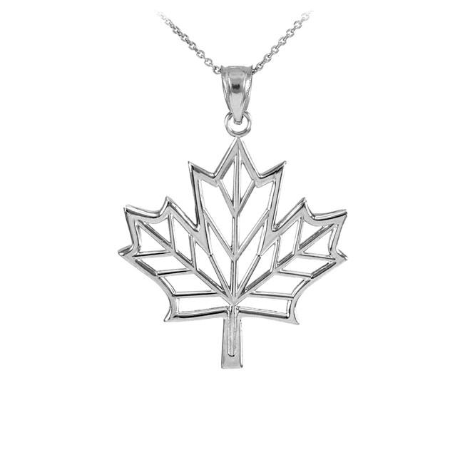 Polished Silver Open Design Maple Leaf Pendant Necklace