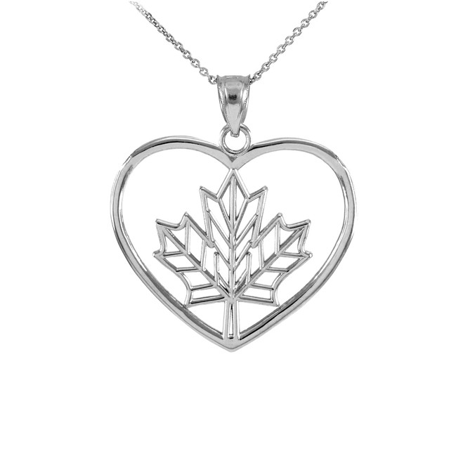 White Gold Maple Leaf Open Heart Pendant Necklace