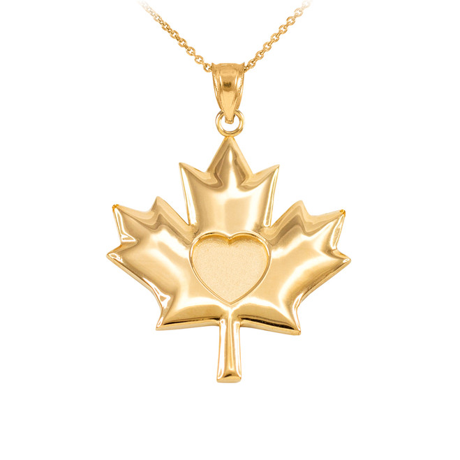 Solid Yellow Gold Heart Maple Leaf Pendant Necklace
