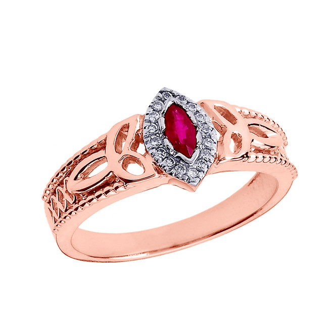 Rose Gold Ladies Ruby and Diamond Trinity Knot Proposal Ring
