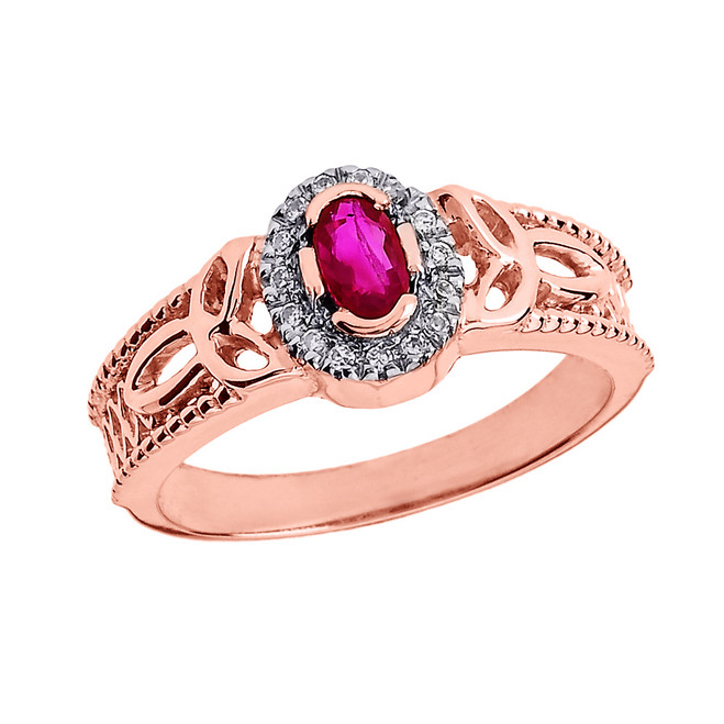 Rose Gold Ruby and Diamond Trinity Knot Ladies Proposal Ring