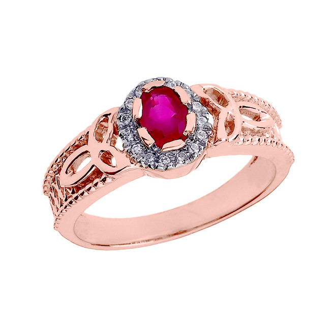 Rose Gold 0.25 Carat Ruby and Diamond Trinity Knot Ladies Proposal Ring