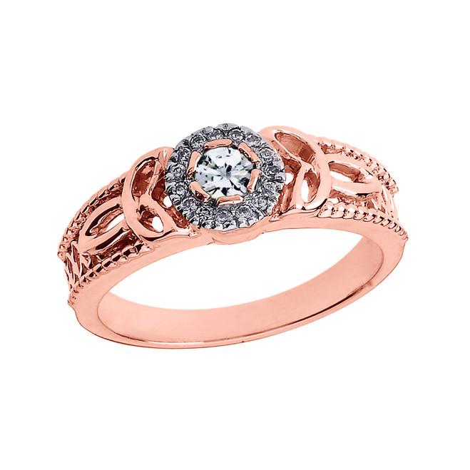 Rose Gold Ladies Diamond Trinity Knot Proposal Ring