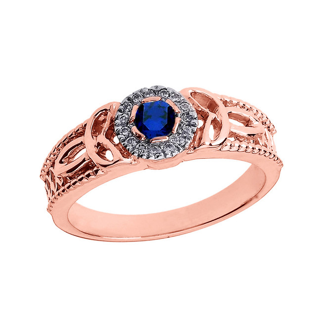 Rose Gold Ladies Sapphire and Diamond Trinity Knot Proposal Ring