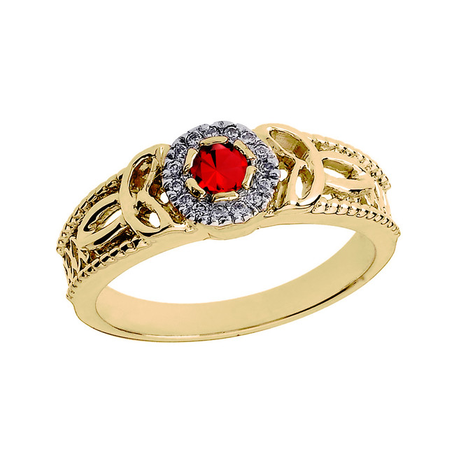 Yellow Gold Ladies Genuine Ruby and Diamond Trinity Knot Proposal Ring