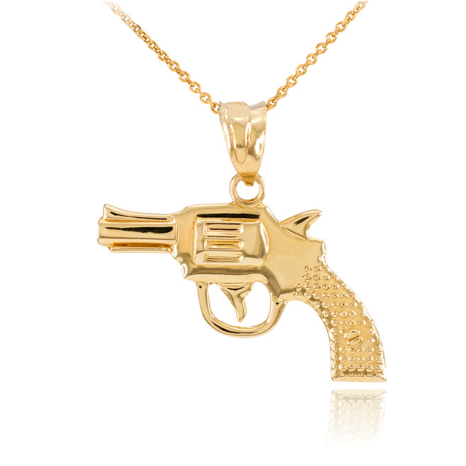 Solid Gold Revolver Pistol Gun Pendant Necklace