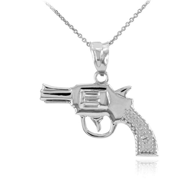 Solid Sterling Silver Revolver Pistol Gun Pendant Necklace