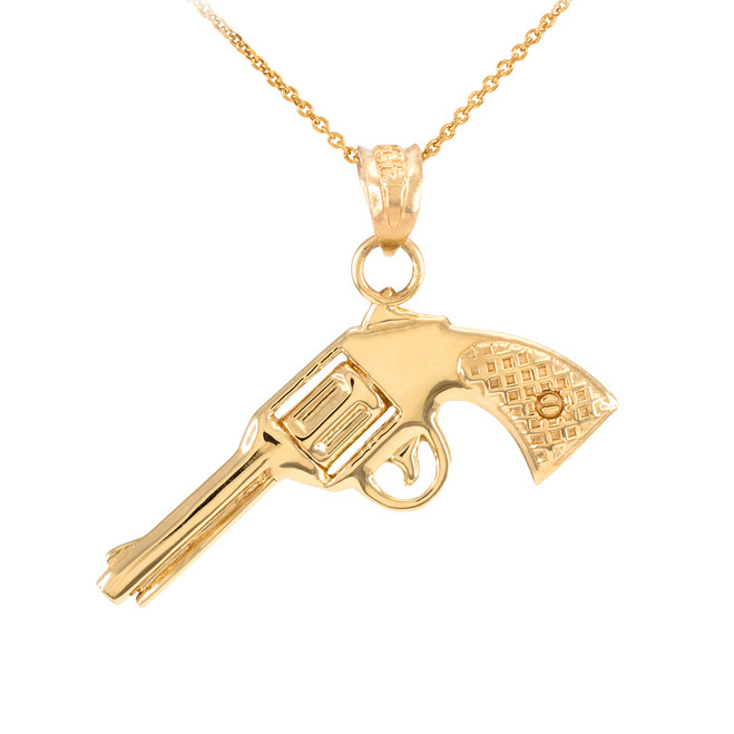 Solid Gold Gun Revolver Pistol Pendant Necklace