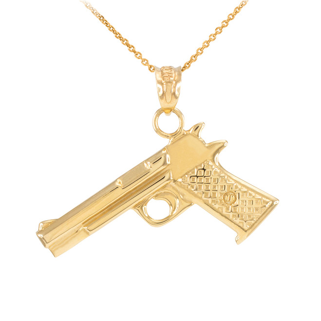 Solid Gold Desert Eagle Pistol Gun Pendant Necklace