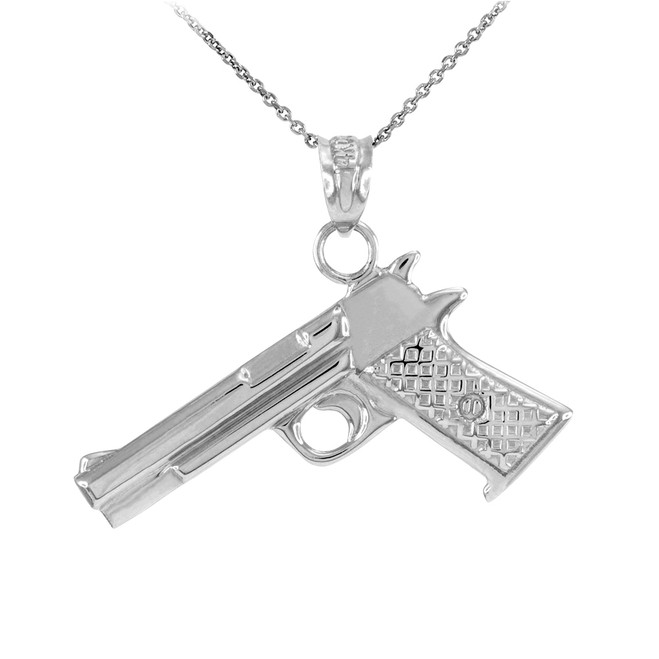 Solid Sterling Silver Desert Eagle Pistol Gun Pendant Necklace