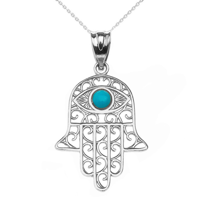 925 Sterling Silver Hamsa Hand With Turquoise Evil Eye Pendant Necklace